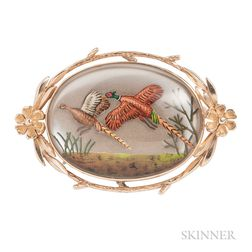 14kt Gold and Reverse-painted Crystal Brooch