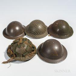 Five British Brodie Helmets