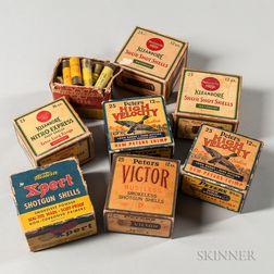 Eight Vintage Shotgun Shell Boxes