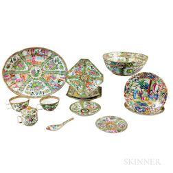 Thirteen Rose Medallion Porcelain Tableware Items.     Estimate $200-300