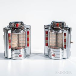Two Coin-operated Wall-mount Diner Booth Jukeboxes