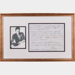 Cocteau, Jean (1889-1963) Autograph Letter Signed.