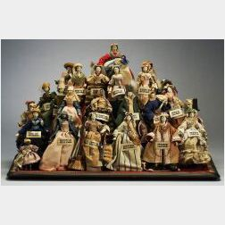 "Pyramid of Grodnertal Dolls in ""Female Costume of Every Nation"""