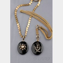Two Antique Onyx and Rose-cut Diamond Pendants