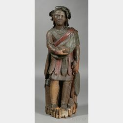 Polychrome-painted and Carved Wood Indian Tobacconist Figure