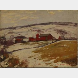 John Newton Howitt (American, 1885-1958)      Mt. Hope Road / Red Barns in Winter