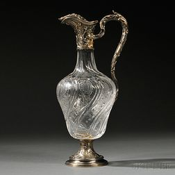 French .950 Silver-mounted Rock Crystal Claret Jug
