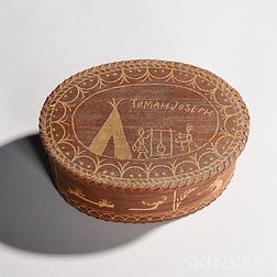 Tomah Joseph Pictorial Birch Bark Box