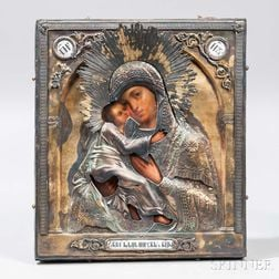 Russian Icon Depicting the Madonna and Child