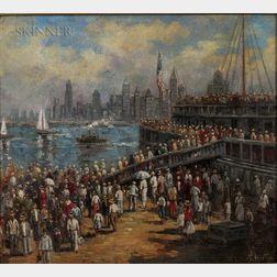 William Samuel Horton (American, 1865-1936)      Departing the Ferry, New York
