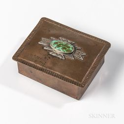 Small Navajo Copper and Silver Box with Turquoise Setting