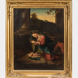 Amasa Hewins (American, 1785-1855)      Copy After Correggio, Madonna in Adoration of the Child Jesus