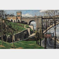 Henry Schnakenberg  (American, 1892-1970)      High Bridge   (Washington Bridge over the Harlem River)