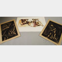 Three Works on Paper:      Georges Rouault (French, 1871-1958), Demain sera beau, disait le naugragé