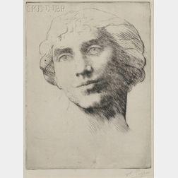 Alphonse Legros (French, 1837-1911)      Tête de jeune femme