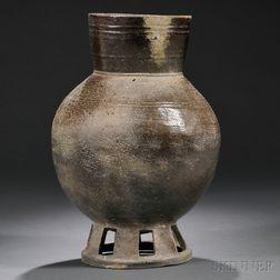 Mounted Stoneware Funereal Vessel