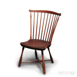 Red-painted Fan-back Windsor Side Chair