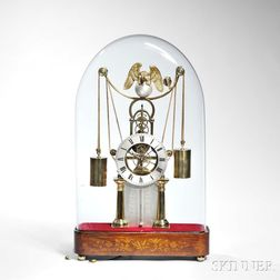 Musical French Weight-powered Skeleton Clock