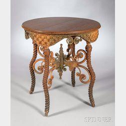 Wakefield Rattan Co. Oak-top Green-stained Wicker Table