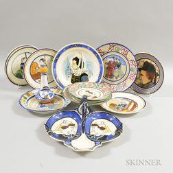 Thirteen P. Fouillen and HB Quimper Pottery Items