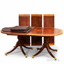 """Baker """"Historic Charleston"""" Federal-style Carved Mahogany Double-pedestal Dining Table"""