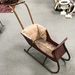 Victorian Red-painted and Floral-decorated Child's Sleigh
