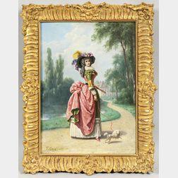 Francesco Gonin (Italian, 1808-1889)      Elegant Woman Strolling with Her Poodle