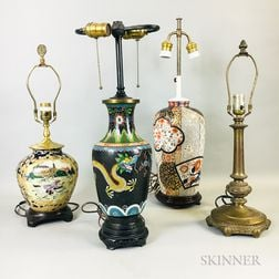 Four Asian-style Lamp Vases
