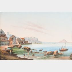 Italian School, 19th/20th Century      Coastal Town and Bay, Possibly Naples