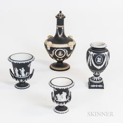 Four Wedgwood Black Jasper Vessels