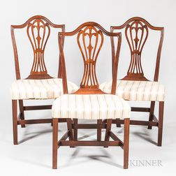 Three Federal Shield-back Side Chairs