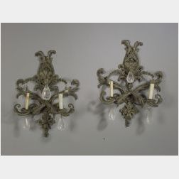 Pair of Classical Revival Gray Painted Metal and Rock Crystal Two Light Wall Sconces