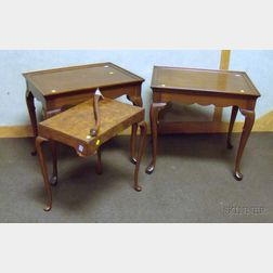 Pair of Queen Anne Style Mahogany Tray-top Tables and a Burl Veneer Stand