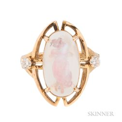 14kt Gold, Reverse-carved Moonstone, and Diamond Ring