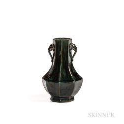 Chelsea Keramic Faceted Vase with Elephant Handles