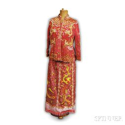 Chinese Heavily Woman's Beaded Suit