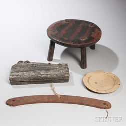 Wooden Stool, Shaker Coat Hanger, Trencher, and Textile Printing Block
