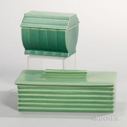 Two Wedgwood Keith Murray Design Matte Green Glazed Boxes