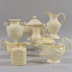 Eight Creamware Tableware Items