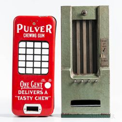 "Red Enameled ""Pulver"" Chewing Gum Dispenser Cover and an Unmarked Arcade Dispenser"