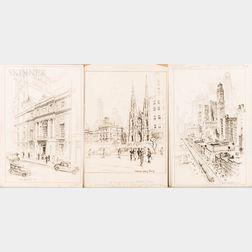 Vernon Howe Bailey (American, 1874-1953) Five New York City Scene Pen Drawings: Harvard Club; St. Pauls Cathedral from Rockefeller Pla