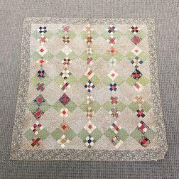 Nine-patch Pieced Cotton Crib Quilt