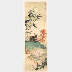 Two Hanging Scroll Paintings by Sakurato Yuxu