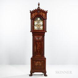 Walter H. Durfee Art Nouveau Marquetry Pattern 34 Inlaid Tall Clock