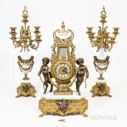 Three-piece Gilt-bronze Clock Garniture