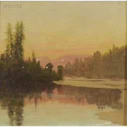 Charles Dormon Robinson (American, 1847-1933)      Afterglow on a Winter Lake