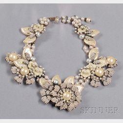Vintage Imitation Pearl Flower Necklace, Miriam Haskell
