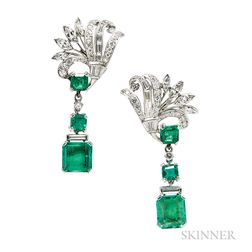 Platinum, Emerald, and Diamond Earrings