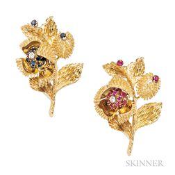 Pair of 18kt Gold Gem-set Chestnut Brooches, Tiffany & Co.
