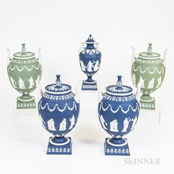 Five Modern Wedgwood Jasper Covered Urns